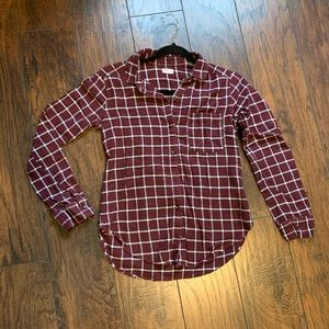 Hollister Checkered Maroon Flannel